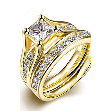 Women's Cubic Zirconia Ring - Stainless Steel, Gold Plated Fashion 6 / 7 / 8 / 9 Gold For Party Birthday Gift
