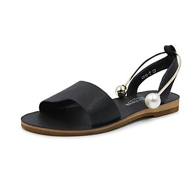 Női Cipő PU Nyár Könnyű talpak Szandálok Lapos Lábujj nélküli Gyöngy mert Fekete Mandula
