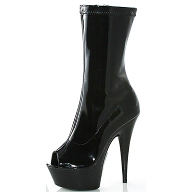 Women's Shoes PU(Polyurethane) Spring / Fall Fashion Boots Boots Stiletto Heel Peep Toe Booties / Ankle Boots Zipper Black