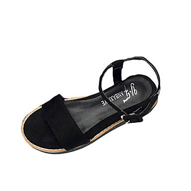 Damen Schuhe PU Frühling Sommer Komfort Leuchtende Sohlen Sandalen Flacher Absatz Offene Spitze Schnalle für Kleid Schwarz Beige