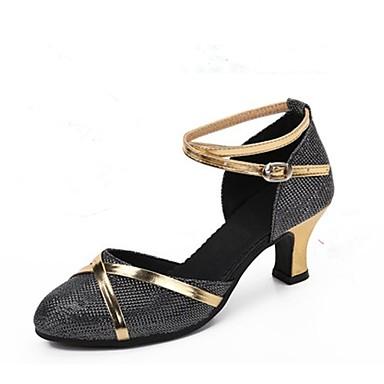 baratos Shall We® Sapatos de Dança-Mulheres Gliter Sapatos de Dança Moderna Recortes Salto Salto Personalizado Personalizável Prata / Prata / Black / Preto e Dourado / Interior / EU40