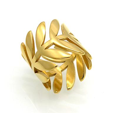 billige Motering-Herre Dame Band Ring Smykker Gull Sølv Titan Rund Blad Formet Geometrisk Form Spiss Form Hjerte Livets tre Personalisert dusk Vintage