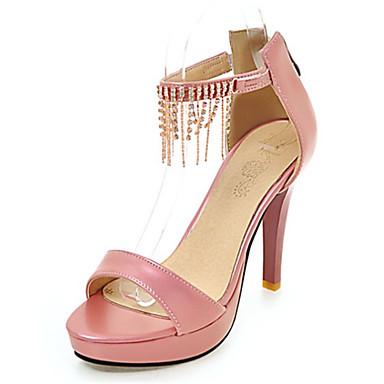Damen Schuhe Kunstleder Sommer Komfort Sandalen Stöckelabsatz Peep Toe Kette Für Normal Weiß Silber Grau Rosa