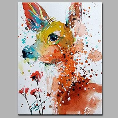 Hang festett olajfestmény Kézzel festett - Állatok Művészi Rusztikus Modern / kortárs Vászon