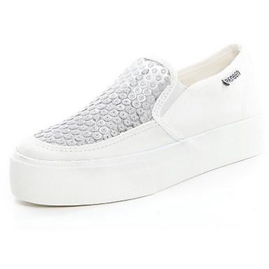 bajo Negro y Rosa Blanco Zapatos Slip On Mujer Tul taco Zapatos Confort 06136105 Verano de Lentejuelas 4wOxg8