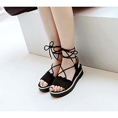 Damen Schuhe PU Sommer Komfort Sandalen Für Normal Schwarz Beige Grau Gelb