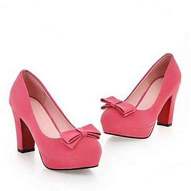 Damen Schuhe PU Frühling Herbst Komfort High Heels Für Normal Schwarz Rot Grün Blau Mandelfarben