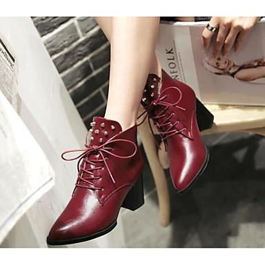 Damen Schuhe Echtes Leder PU Herbst Winter Komfort Modische Stiefel Stiefel Für Normal Schwarz Braun Rot
