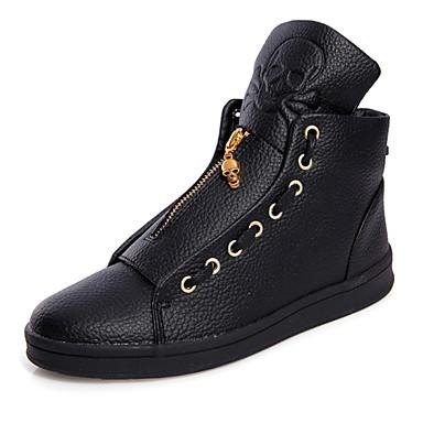Herrn Schuhe Leder Sommer Herbst Komfort Sneakers Walking Reißverschluss für Normal Draussen Weiß Schwarz
