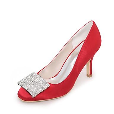 Bout Printemps Bleu Satin 06198717 Strass de Ivoire carré Champagne Chaussures Basique Eté Talon mariage Femme Chaussures Escarpin Aiguille 6Exp5wfPq
