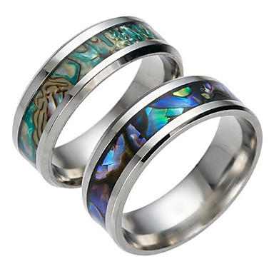 Men's Band Ring - Titanium Steel Fashion 6 / 7 / 8 Dark Blue / Green For Daily