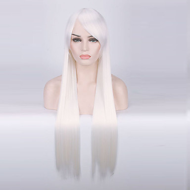 Synthetic Wig Straight Synthetic Hair White Wig Women's Long Capless