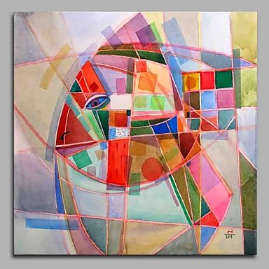 Hang festett olajfestmény Kézzel festett - Állatok Művészi Modern stílus Rajzfilmfigura Vászon