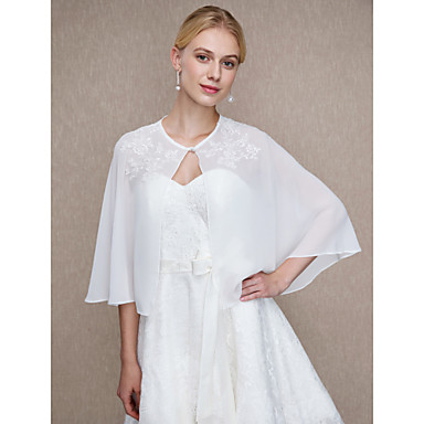 Chiffon Wedding / Party / Evening Women's Wrap With Appliques / Buttons Capelets