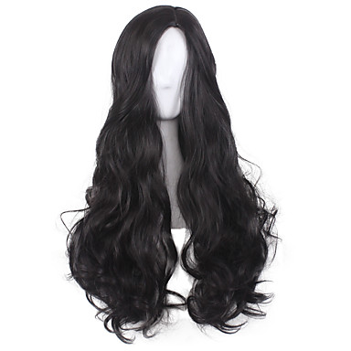 Synthetic Wig / Cosplay & Costume Wigs Wavy / Deep Wave Asymmetrical Haircut Synthetic Hair Natural Hairline / Middle Part Black Wig Women's Medium Length / Long Capless