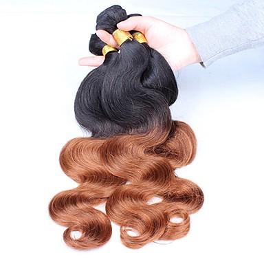 Brazil haj Hullámos haj Ombre Emberi haj sző Fekete / Medium Auburn