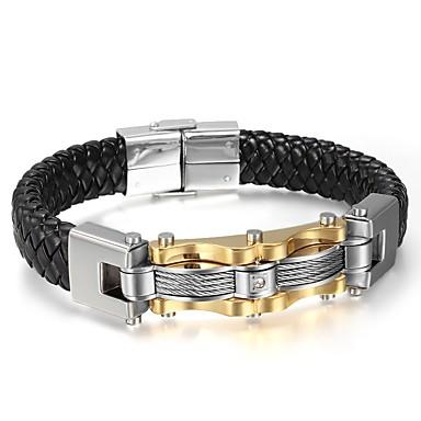 Men's Leather Bracelet - Leather, Titanium Steel Rock, Hip-Hop Bracelet Black For Party / Birthday / Gift