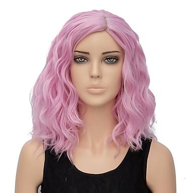 Szintetikus parókák Hullám Pink Szintetikus haj Ombre haj Pink Paróka Női Rövid Sapka nélküli Rózsaszín