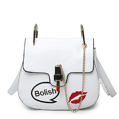 Női Táskák PU Vállon átvetős táska Hímzés Fehér / Fekete / Arcpír rózsaszín