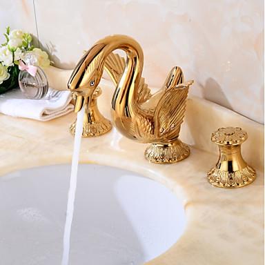Elterjedt Széleskörű Réz szelep Két fogantyú három lyuk Aranyozott, Fürdőszoba mosogató csaptelep