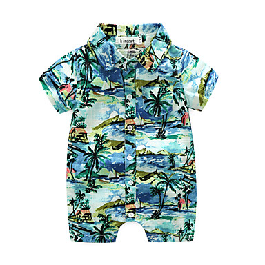 Baby Boys' One-Pieces, Polyster Summer Short Sleeves Blue Red