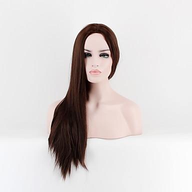 Szintetikus parókák Egyenes Sűrűség Sapka nélküli Női Barna Természetes paróka Hosszú Szintetikus haj