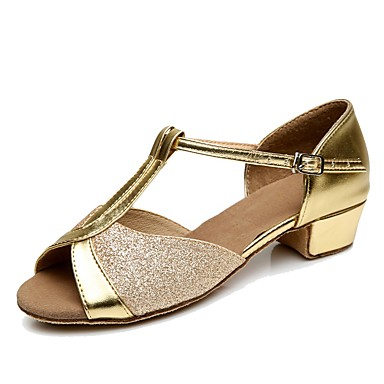 Women's Latin Customized Materials Heel Indoor Low Heel Gold Silver Red Blue 1