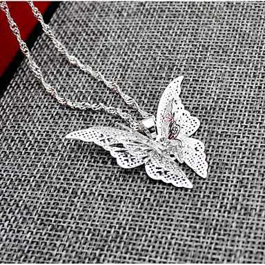 Women's Pendant Necklace - Butterfly, Animal Silver Necklace For Wedding, Birthday
