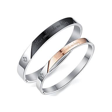 Men's / Women's AAA Cubic Zirconia Bangles - Cubic Zirconia, Titanium Steel Fashion, Elegant Bracelet Black / Rose Gold For Wedding / Evening Party