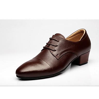 Férfi Latin cipők Bőr Félcipő Szabadtéri Illesztés Vaskosabb sarok Dance Shoes Sötétbarna