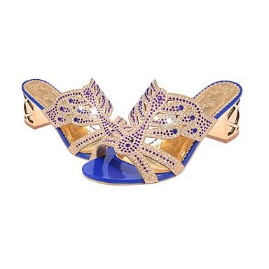 abordables Meilleures Ventes-Femme Sandales Block Heel Bout ouvert Paillette Brillante Polyuréthane Printemps / Eté Beige / Vert / Bleu royal / EU40