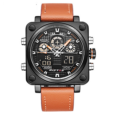 cheap Women's Watches-Men's Sport Watch Military Watch Digital Watch Japanese Quartz Genuine Leather Black / Orange 30 m Water Resistant / Waterproof Alarm Calendar / date / day Analog - Digital Charm Luxury Vintage