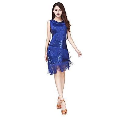 Latin Dance Dresses Women's Performance Spandex Paillette Tassel Sleeveless Natural Dress