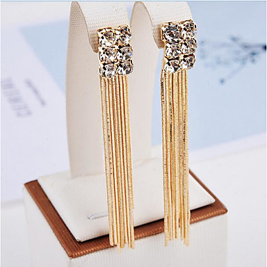 Women's Tassel Drop Earrings - Rhinestone Tassel, Fashion Gold For Party Daily