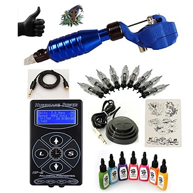 Tattoo Machine Starter Kit - 1 pcs Tattoo Machines with 7 x 15 ml tattoo inks, Professional LED power supply Case Included 1 rotary machine liner & shader