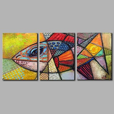 Oil Painting Hand Painted - Animals Artistic Modern / Contemporary Canvas