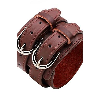 abordables Bracelet-Bracelets en cuir Homme Femme Cuir Personnalisé Rock Bracelet Bijoux Blanc Noir Rouge foncé Rond pour Décontracté Scène