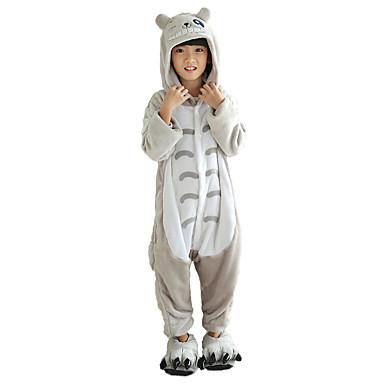 Kid's Kigurumi Pajamas Cat Totoro Onesie Pajamas Flannel Fabric Gray Cosplay For Boys and Girls Animal Sleepwear Cartoon Halloween Festival / Holiday
