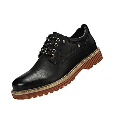 Férfi cipő PU Tavasz Ősz Kényelmes Félcipők Fűző mert Hétköznapi Fekete Sárga Khakizöld