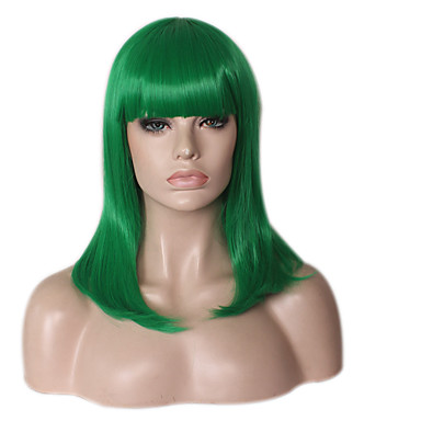 Synthetic Wig / Cosplay & Costume Wigs Straight / kinky Straight Layered Haircut / Asymmetrical Haircut Synthetic Hair Natural Hairline / African American Wig Green Wig Women's Medium Length / Long