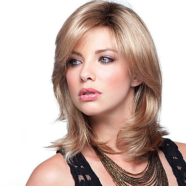 Synthetic Wig Wavy Blonde With Bangs Synthetic Hair Ombre Hair / Dark Roots Blonde Wig Women's Medium Length Capless