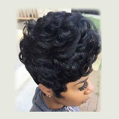Szintetikus parókák Göndör Sűrűség Sapka nélküli Női Fekete Természetes paróka Rövid Szintetikus haj