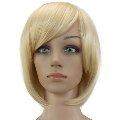 Szintetikus parókák Egyenes Bob frizura Sűrűség Sapka nélküli Női Szőke Party paróka Természetes paróka Rövid Szintetikus haj