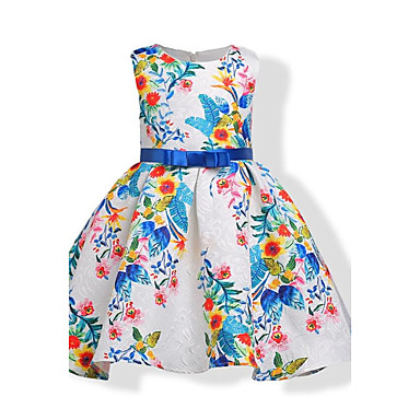 Girl's Birthday Daily Holiday Floral Jacquard Dress, Cotton Fall All Seasons Sleeveless Floral Bow White