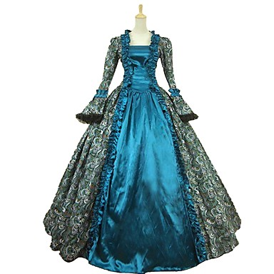 Cinderella Mikulás ruhák Istennő Szerepjáték Jelmezek Álarcosbál Női Karácsony Mindszentek napja Farsang Fesztivál / ünnepek Mindszentek napi kösztümök ruhák Kék Nyomtatott Csipke Rokokó Középkori