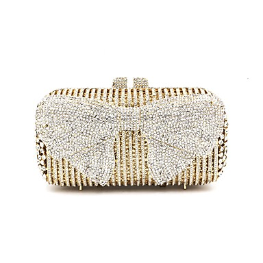 Women's Bags Metal Evening Bag Bow(s) / Crystals Gold / Rhinestone Crystal Evening Bags