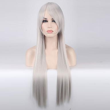 Szintetikus parókák Egyenes Sűrűség Sapka nélküli Női Szürke Jelmez paróka Hosszú Szintetikus haj