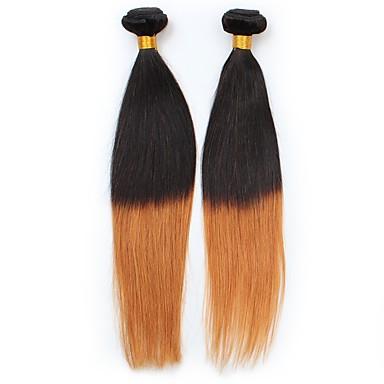 Włosy peruwiańskie Prosto Ombre Ludzkie włosy wyplata Czarny / Średni Auburn Damskie / Prosta