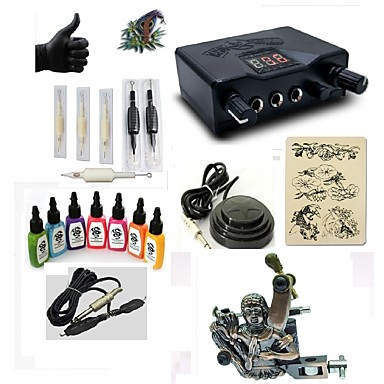 Tattoo Machine Starter Kit - 1 pcs Tattoo Machines with 7 x 15 ml tattoo inks, Professional LED power supply Case Included 1 alloy