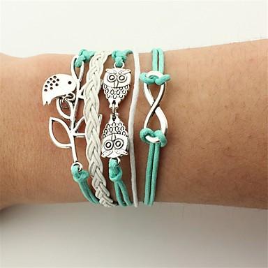 voordelige Herensieraden-Heren Dames Wikkelarmbanden Lederen armbanden Uil Oneindigheid Vintage Bohémien Modieus Leder Armband sieraden Groen Voor Feest Verjaardag Lahja